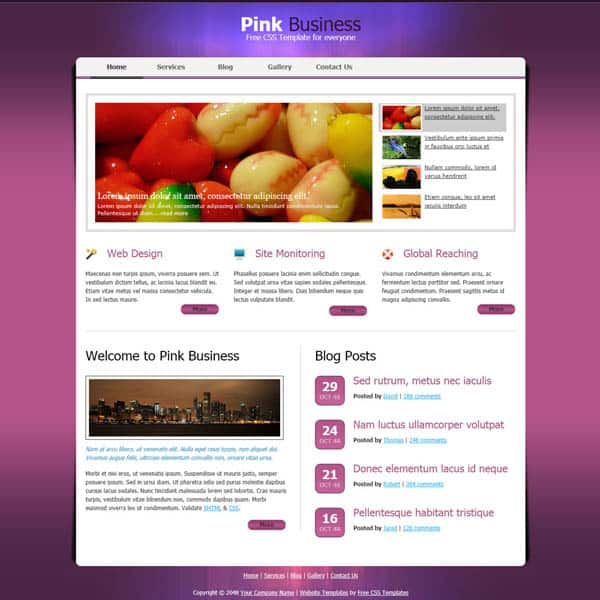 pink business 25 Free Dreamweaver CSS Templates