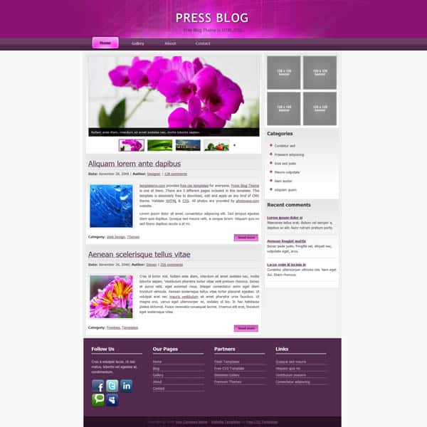 press 25 Free Dreamweaver CSS Templates