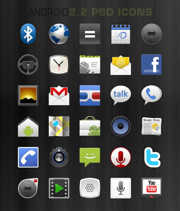 psd android 2 2 native icons by mikecent d3ll7hf 40+ Android Icons Collections