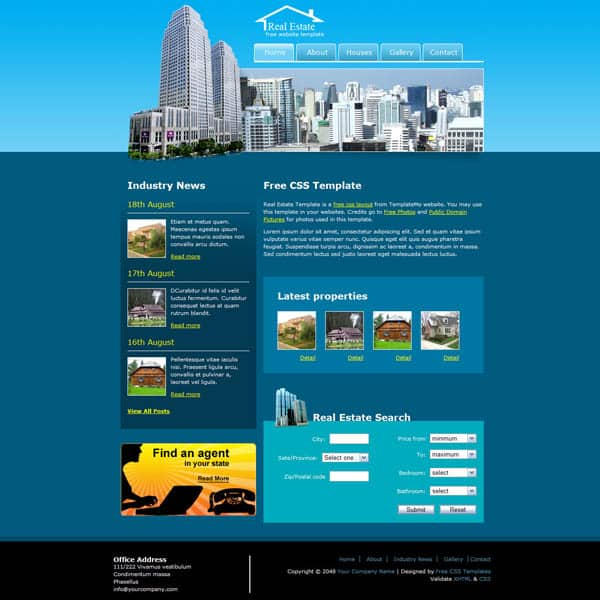 real estate 25 Free Dreamweaver CSS Templates