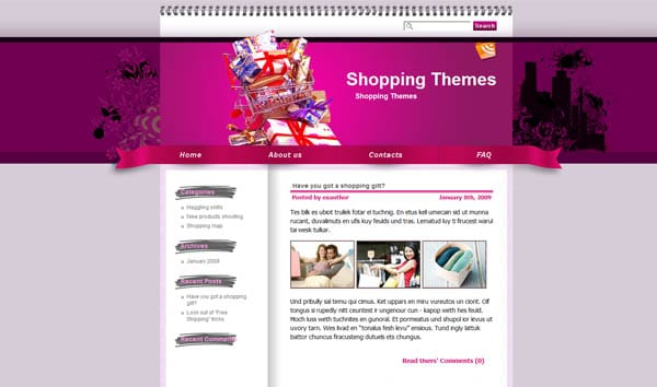 shopaholic Fever 25 Free Dreamweaver CSS Templates