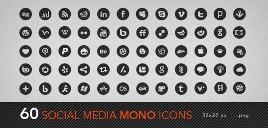 social media mono icons 30 Sets of Social Media/Bookmarking Icons