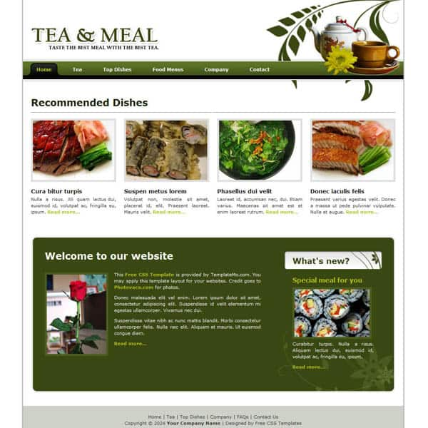 tea and meal 25 Free Dreamweaver CSS Templates