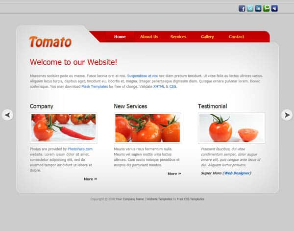 tomato 25 Free Dreamweaver CSS Templates