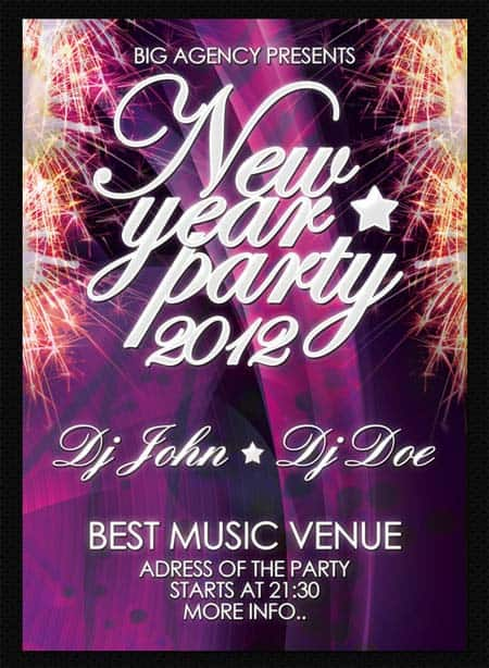 NewYear party flyer templates 20+ Free Party Flyer Templates Collections