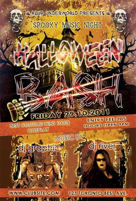dhub Halloween 20+ Free Party Flyer Templates Collections