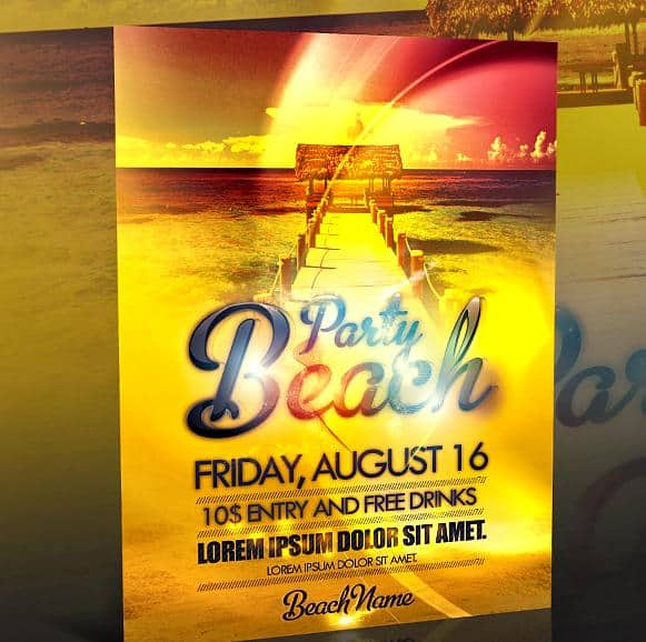 free PSD beach party flyer templates 20+ Free Party Flyer Templates Collections