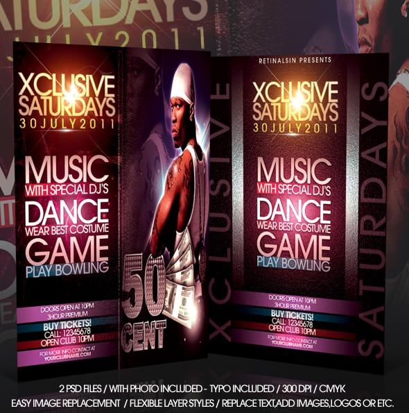 xclusive saturdays flyer  psd 20+ Free Party Flyer Templates Collections