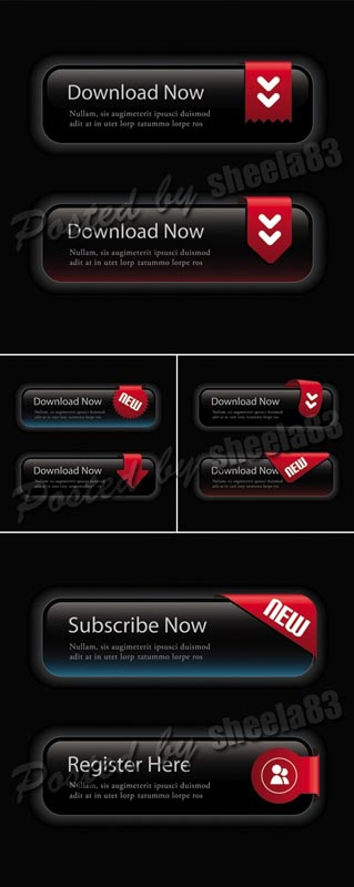Black Elegant Web Buttons Vector Black Web Buttons Templates