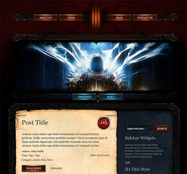 Diablo3 WordPress Theme Diablo 3 Free WordPress PSD Template