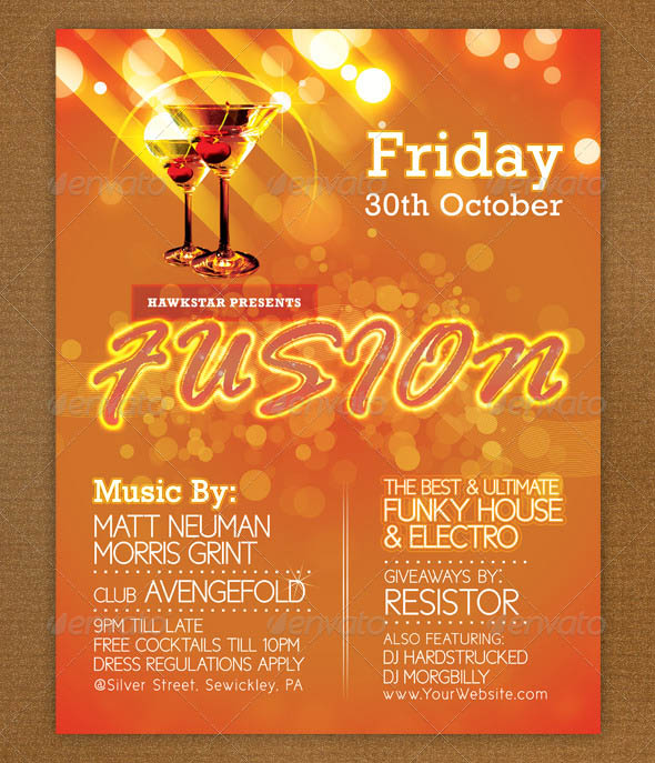 Fusion Vibrant Flyer 35 Free and Premium PSD Nightclub Flyer Templates