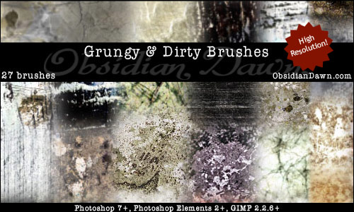 Grungy and Dirty Brushes by redheadstock1 20 Photoshop Grunge Brushes