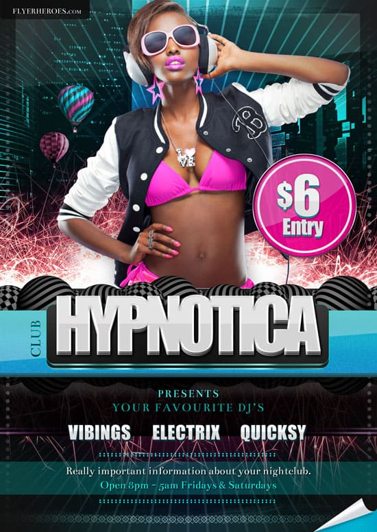 Hypnotica Club Flyer Template 35 Free and Premium PSD Nightclub Flyer Templates