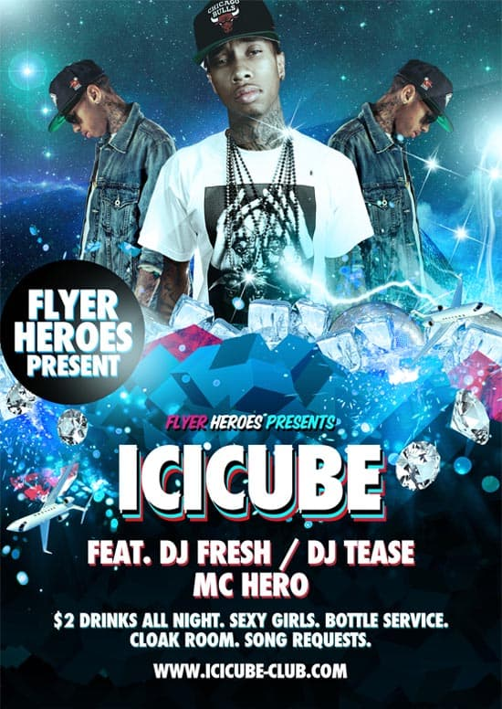 Icicube Hip Hop Flyer Template 35 Free and Premium PSD Nightclub Flyer Templates
