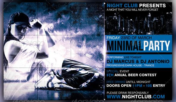 Minimal Party Flyer 35 Free and Premium PSD Nightclub Flyer Templates