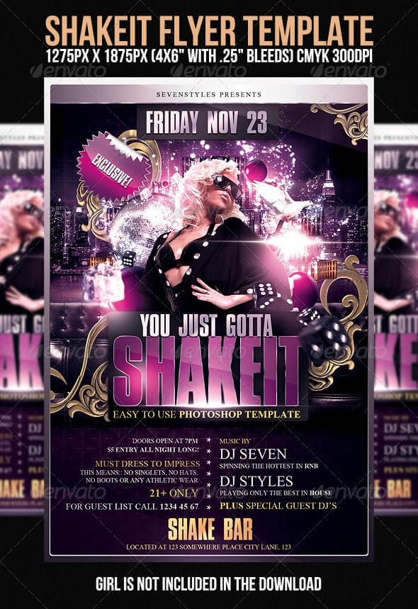 Shakeit Flyer Template 35 Free and Premium PSD Nightclub Flyer Templates