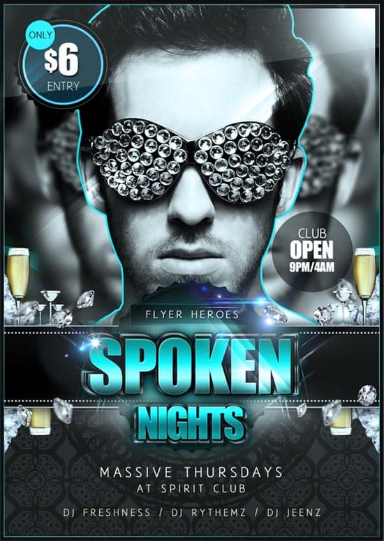 Spoken Nights Luxurious Flyer Template 35 Free and Premium PSD Nightclub Flyer Templates