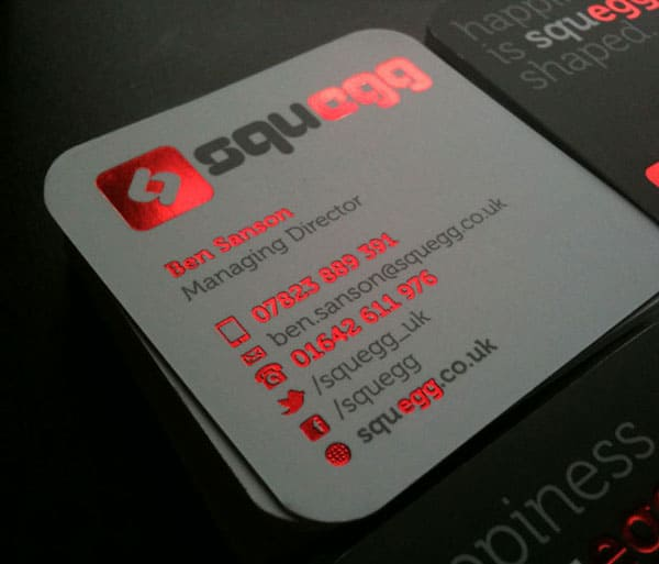 Squegg cards in red foil 40+ Impressive Foil Stamped Business Cards