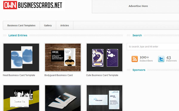 ownbusinesscards 10 Top Business Card Websites