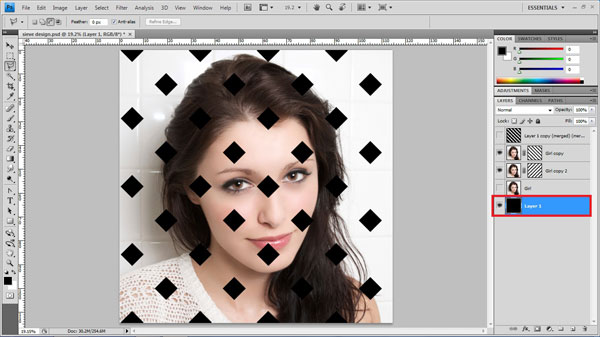 step17 black bg Create Ravishing Interweaving Photo Strips Effect Using Photoshop