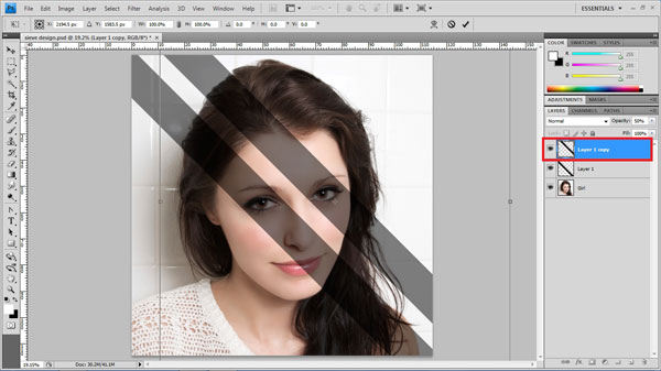 step7 second strip Create Ravishing Interweaving Photo Strips Effect Using Photoshop