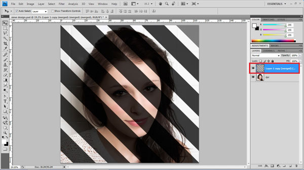 step9 merge layers Create Ravishing Interweaving Photo Strips Effect Using Photoshop