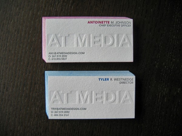 AT 20Media 600x450 60+ Embossed Business Cards for Inspiration
