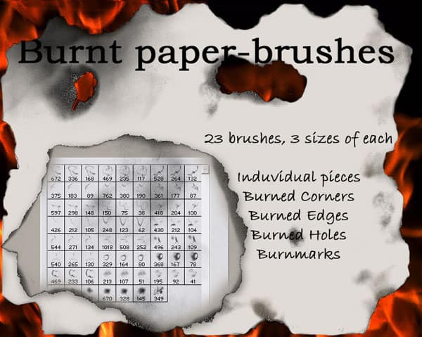 Burnt paper brushes 20 Old and Free Paper Brushes