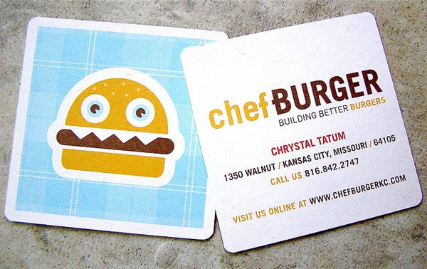 Chef Burger 50+ Brilliant Square Business Cards