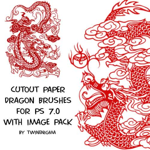 Cutout Paper Dragon Brushes 20 Old and Free Paper Brushes