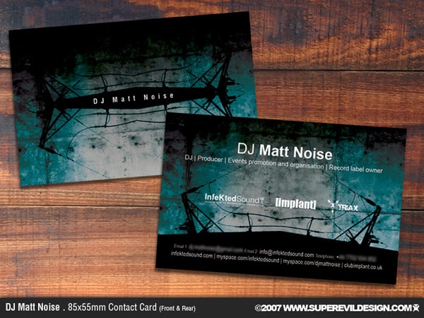 DJ Matt Noise Contact Card by skm industries 50+ Dj Music Business Cards & Designs