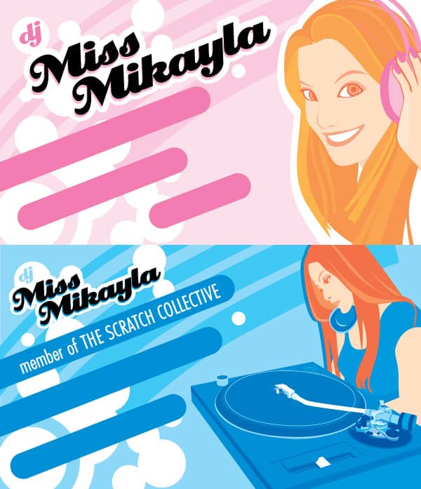 DJ Miss Mikayla business card by emummy 50+ Dj Music Business Cards & Designs