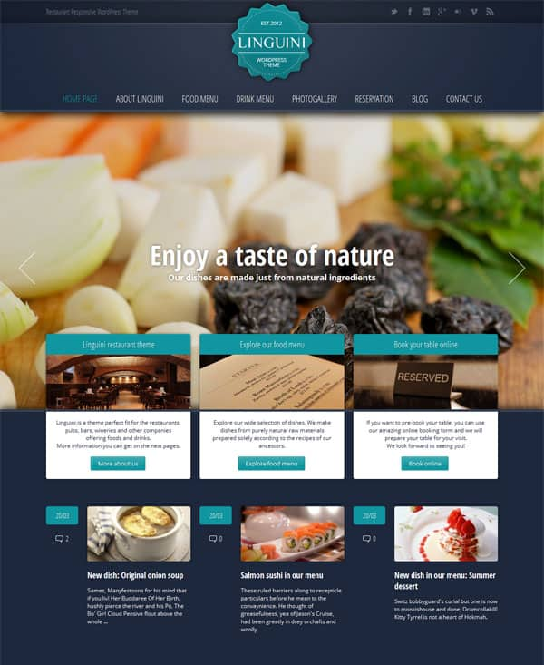 Linguini Homepage 50 Free and Premium Responsive WordPress Themes