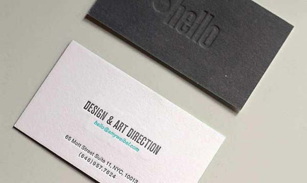 amy weibel business card 3 60+ Embossed Business Cards for Inspiration