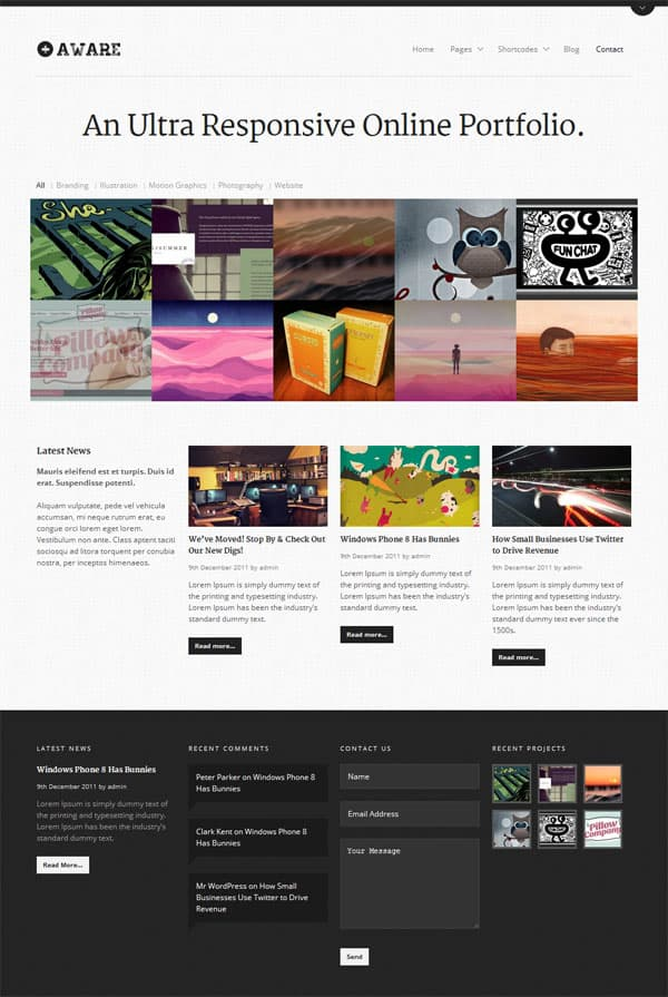aware light 50 Free and Premium Responsive WordPress Themes
