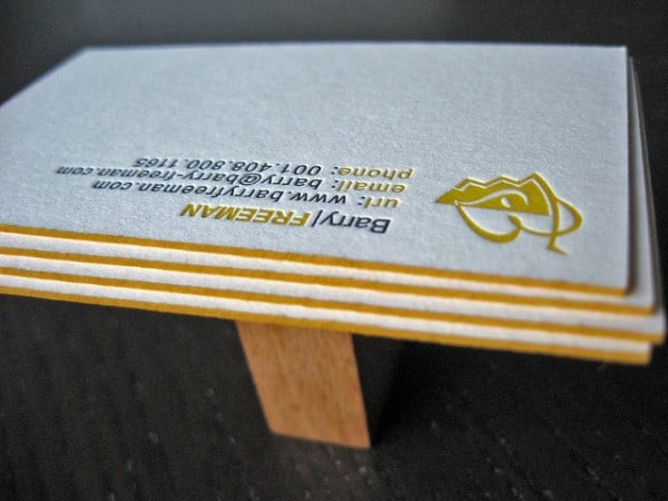 barry freeman 600x450 60+ Embossed Business Cards for Inspiration