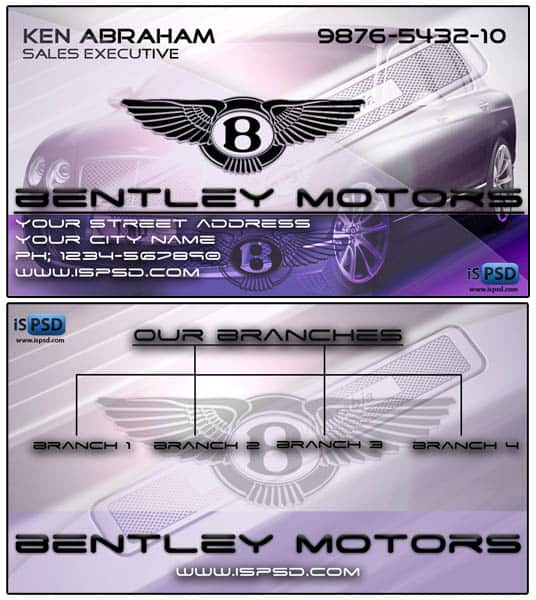bentley motors 15+ Business Card Templates with Multi Color Background