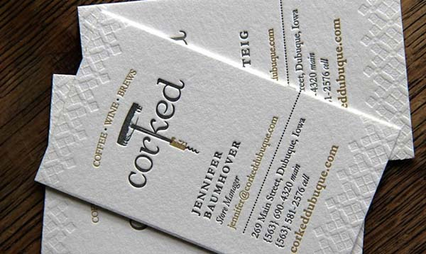 corked letterpress business card 60+ Embossed Business Cards for Inspiration
