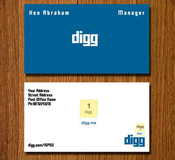 digg card 10+ Social Media Business Cards