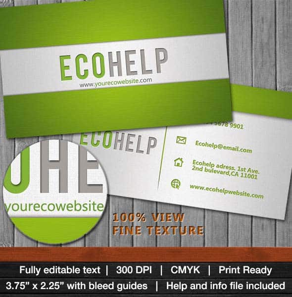 ecohelp business card 25 Impressive and Simple Business Card Designs