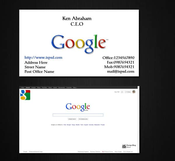 Google Inspired business card