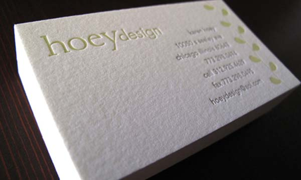 hoey design business card 2 60+ Embossed Business Cards for Inspiration