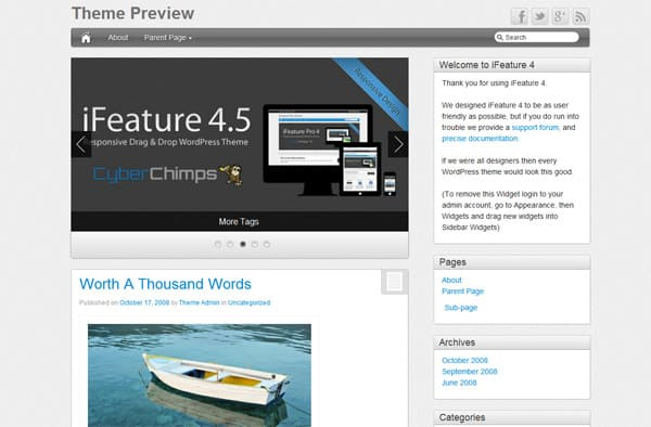 iFeature 50 Free and Premium Responsive WordPress Themes