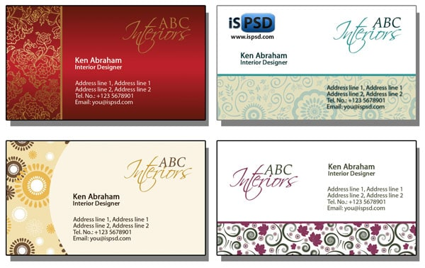 interior designs PSD Freebies : A collection of 40+ White Colored Business Cards