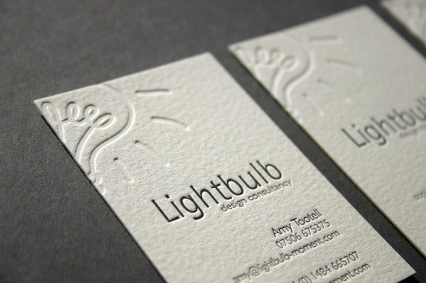 lightbulb1 600x399 60+ Embossed Business Cards for Inspiration