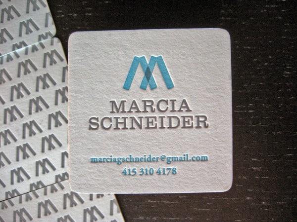 marcia schneider 600x450 60+ Embossed Business Cards for Inspiration