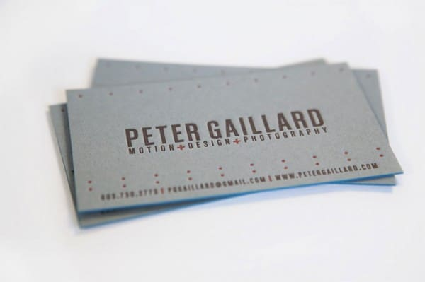 petergaillard card 600x399 60+ Embossed Business Cards for Inspiration