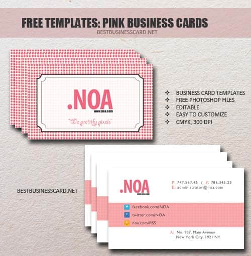 pink social business card for designers 25 Impressive and Simple Business Card Designs