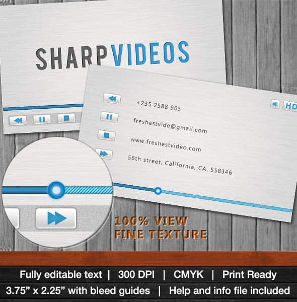 sharp videos business card 25 Impressive and Simple Business Card Designs