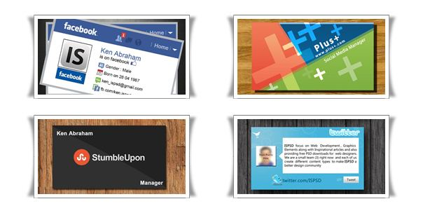 social media 10+ Social Media Business Cards